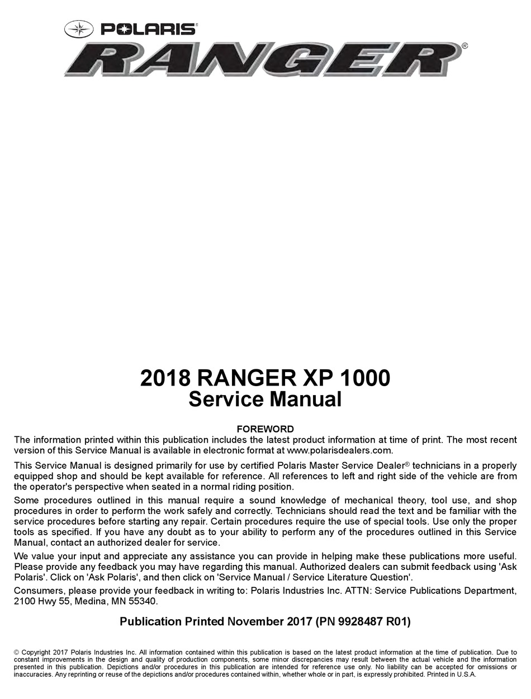 2017 Polaris Rzr Service Manual Pdf