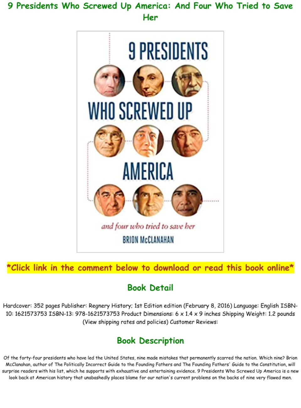 9 Presidents Who Screwed Up America Pdf