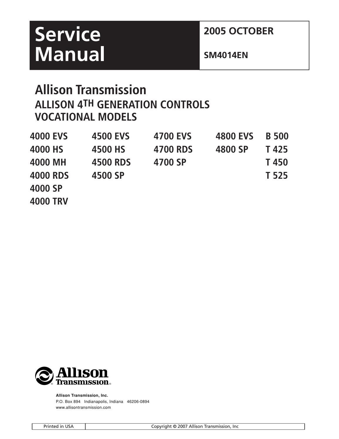 Allison Transmission Manual Pdf