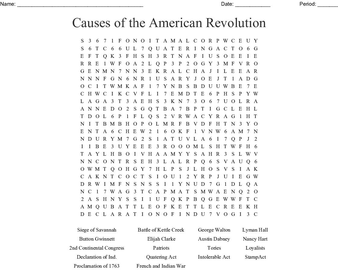 American Revolution Word Search Pdf
