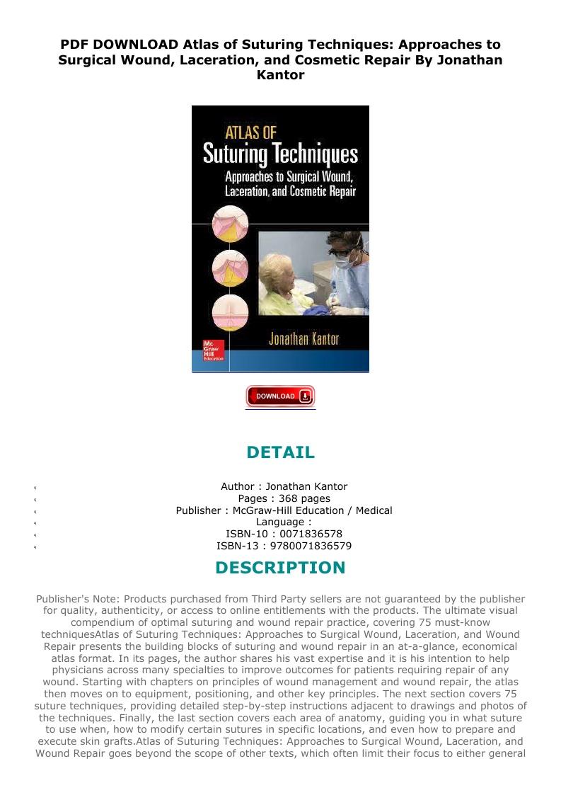 Atlas Of Suturing Techniques Pdf