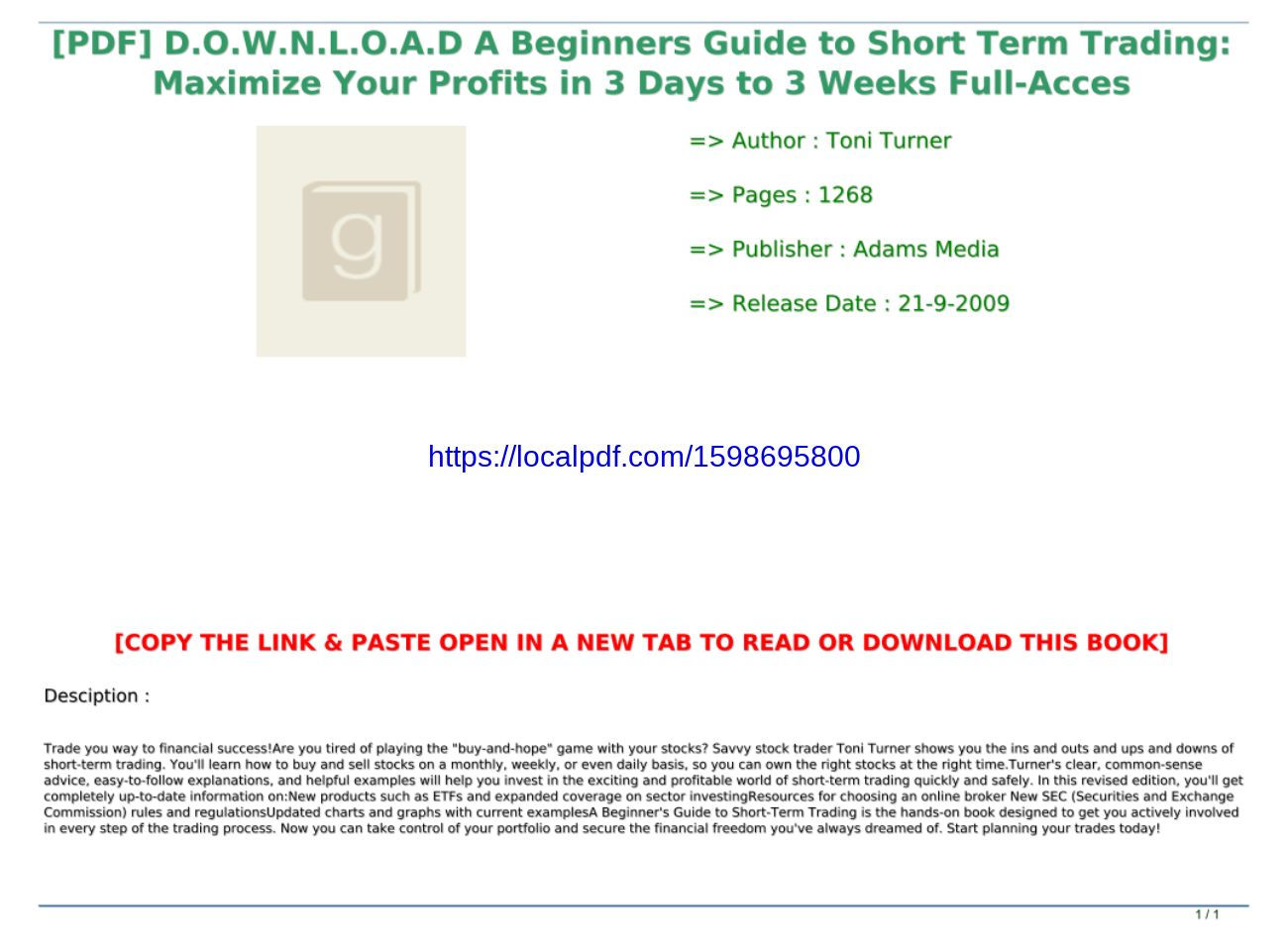 Beginners Guide To Short Term Trading Pdf