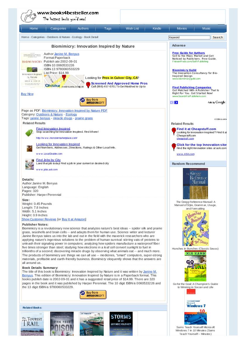 Biomimicry Janine Benyus Book Pdf Free Download