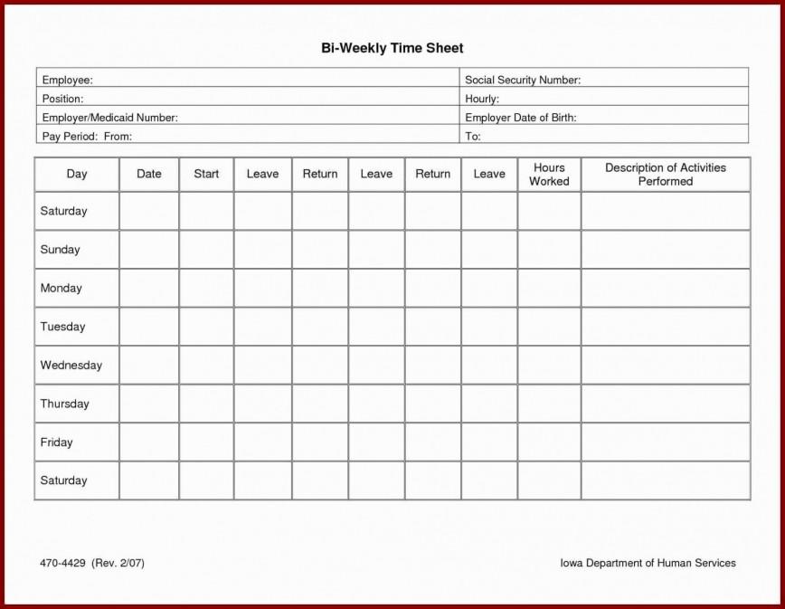 Biweekly Timesheet Template Pdf