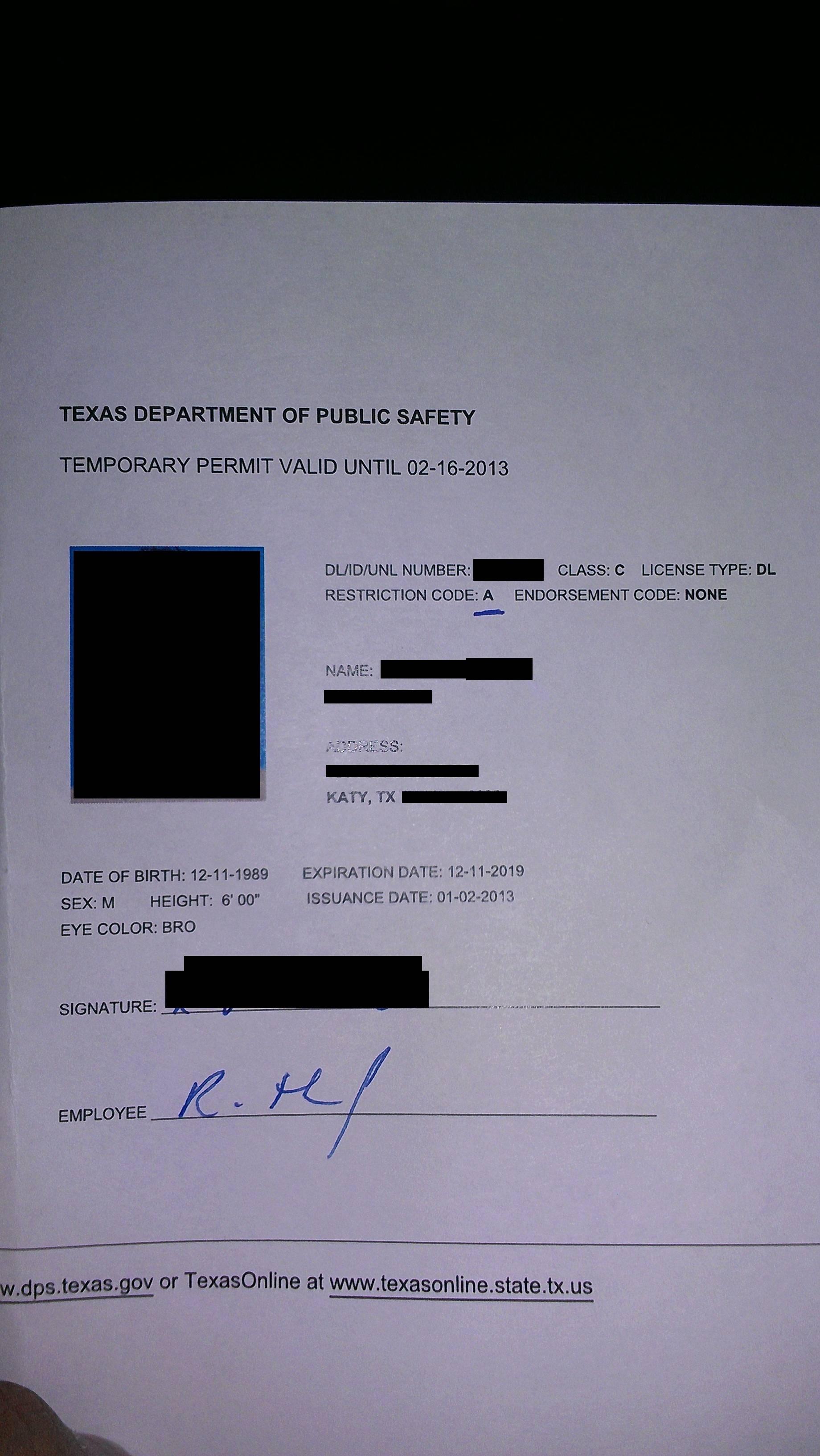 Blank Temporary Texas Paper Id Pdf