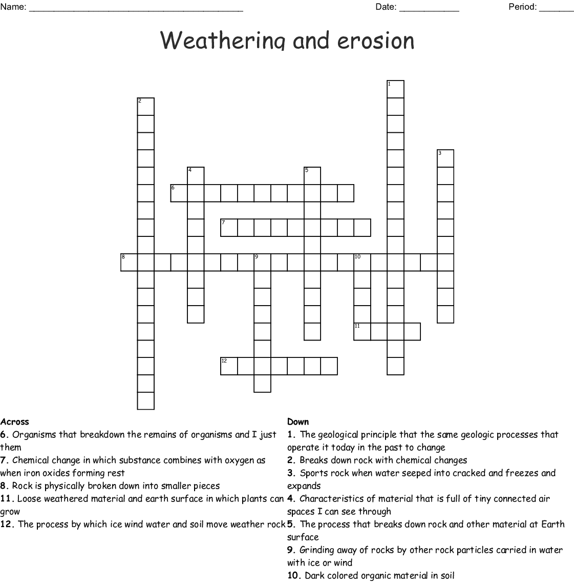 Crossword Puzzle Weathering And Erosion Worksheets Pdf