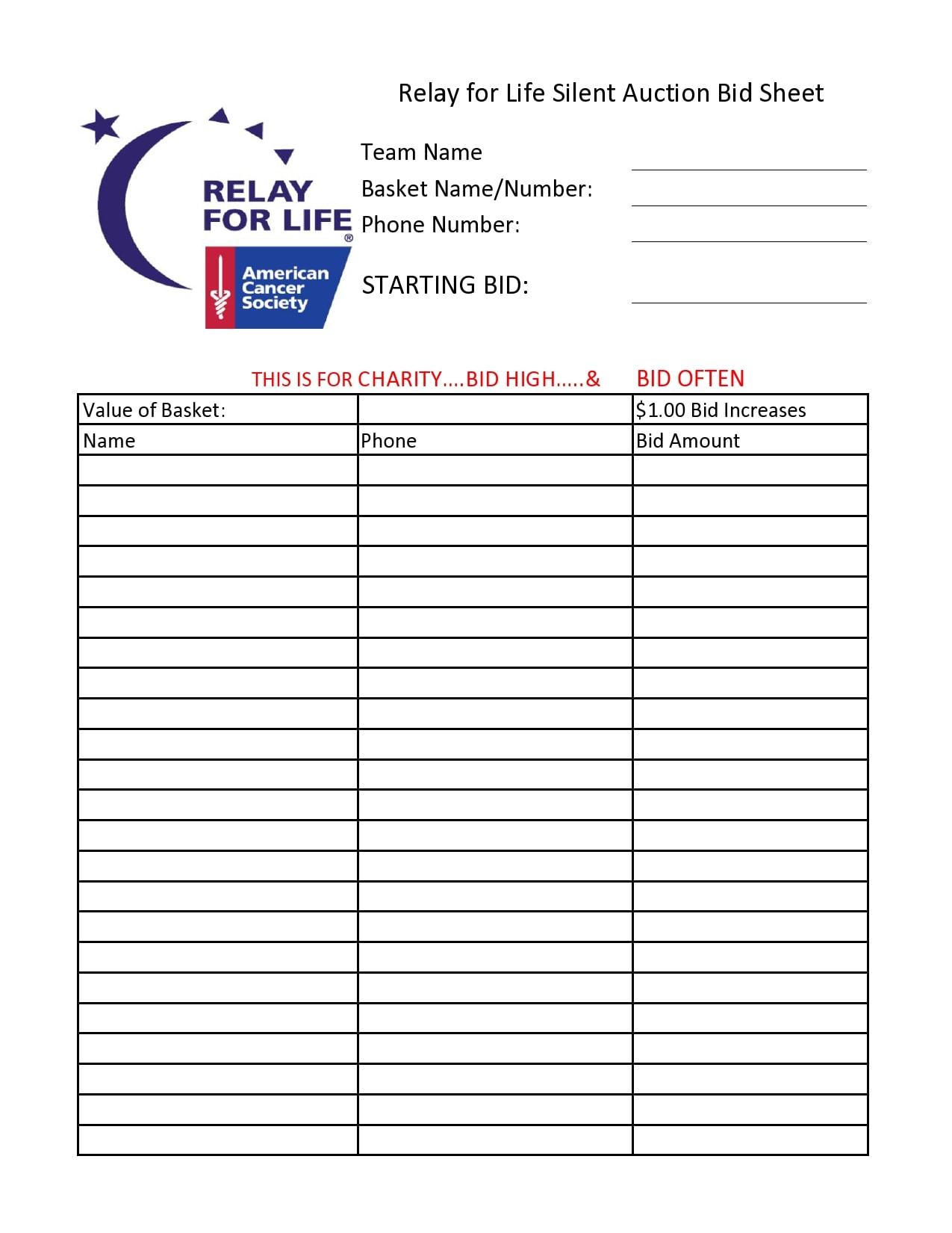 Downloadable Printable Silent Auction Bid Sheets Pdf
