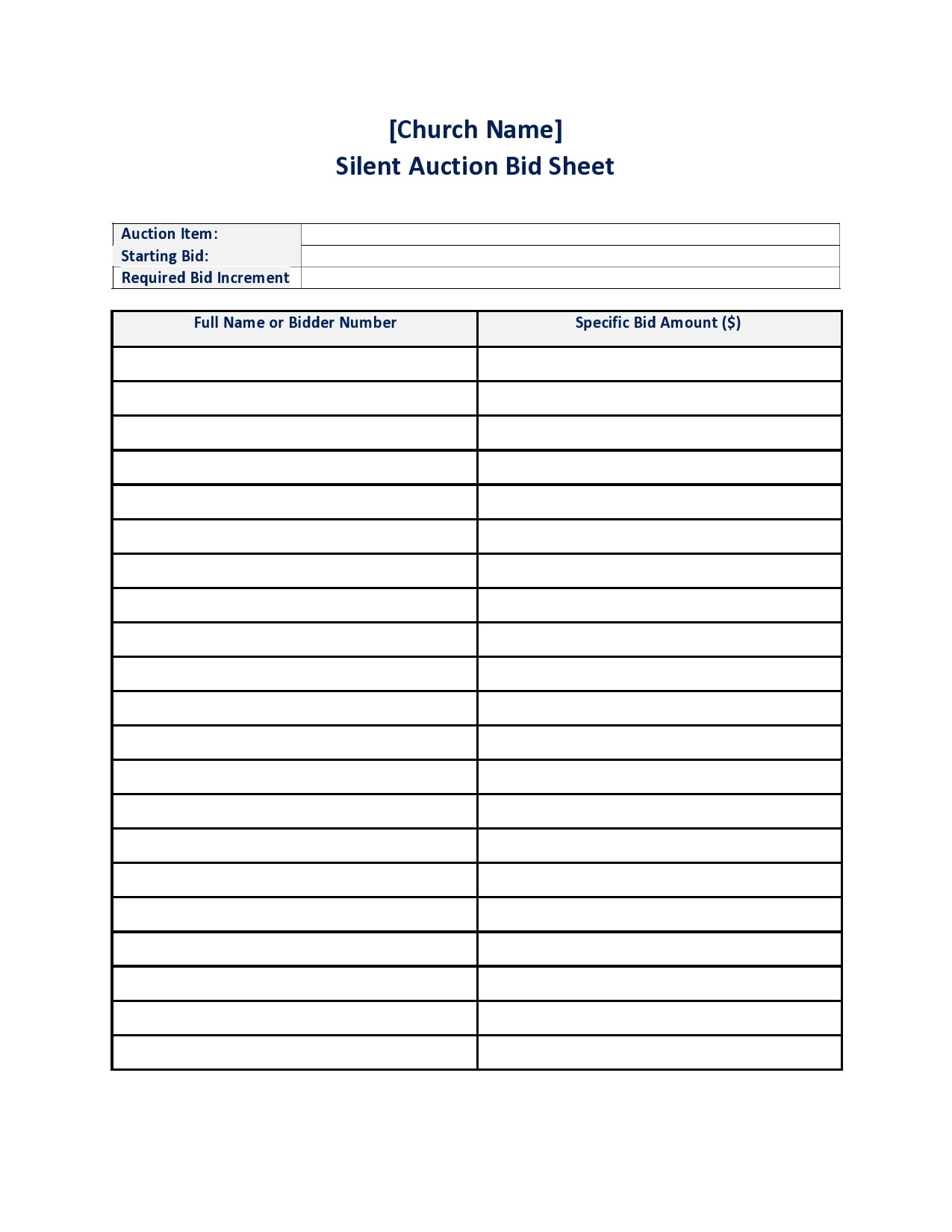 Excel Downloadable Printable Silent Auction Bid Sheets Pdf