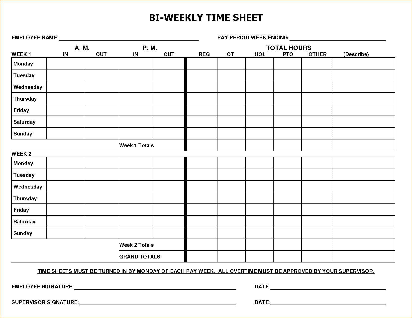 Pdf Printable Weekly Timesheet Template Word