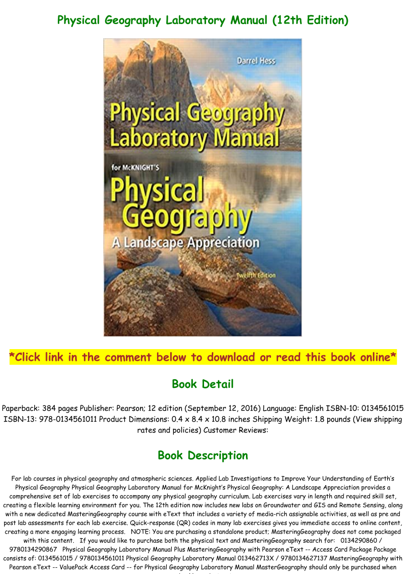 Physical Geography Laboratory Manual 12th Edition Pdf