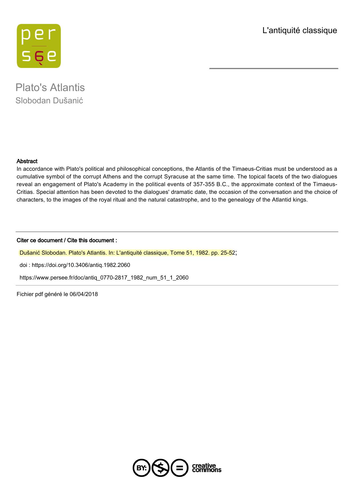 Platos Description Of Atlantis Pdf