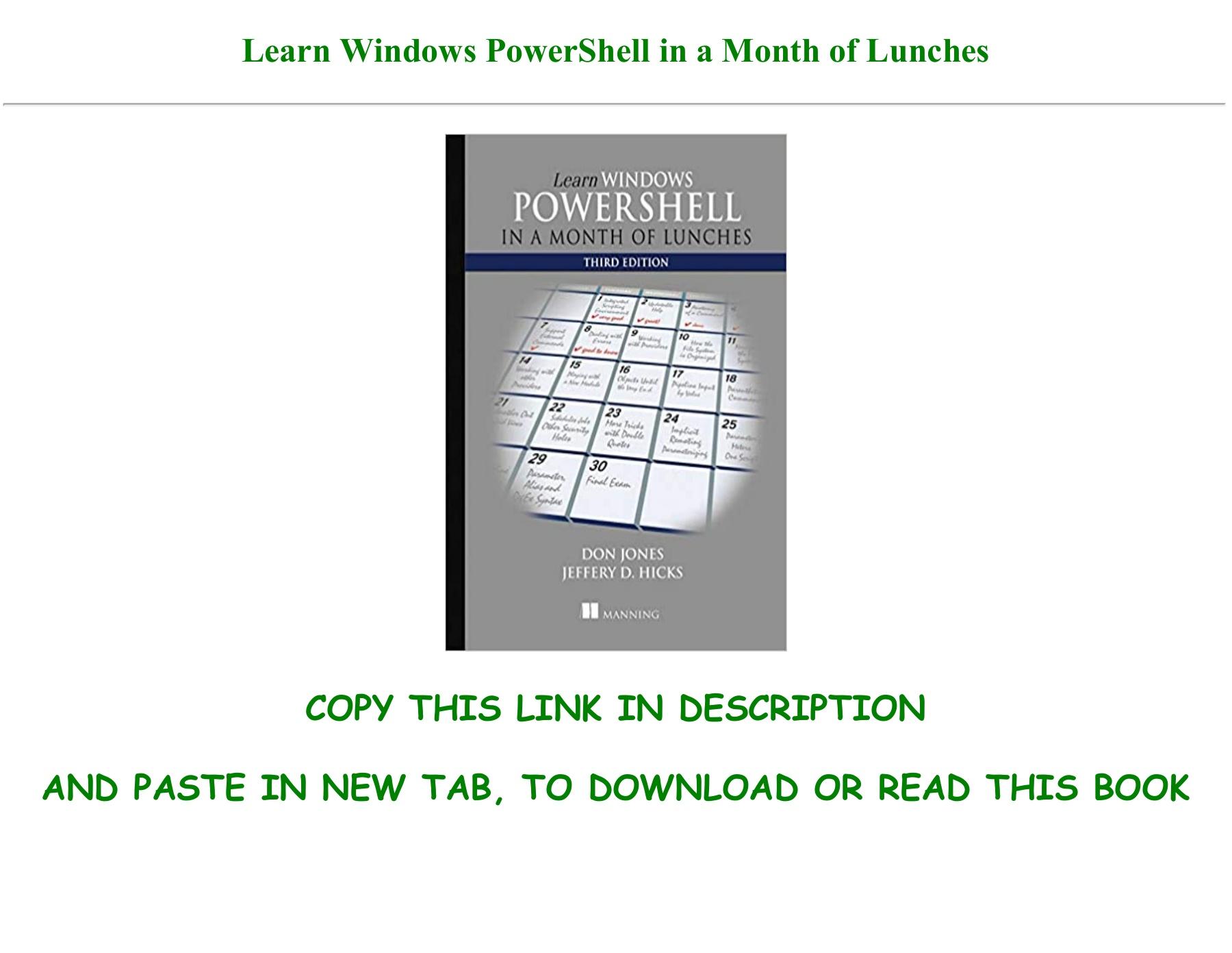 Powershell In A Month Of Lunches Pdf