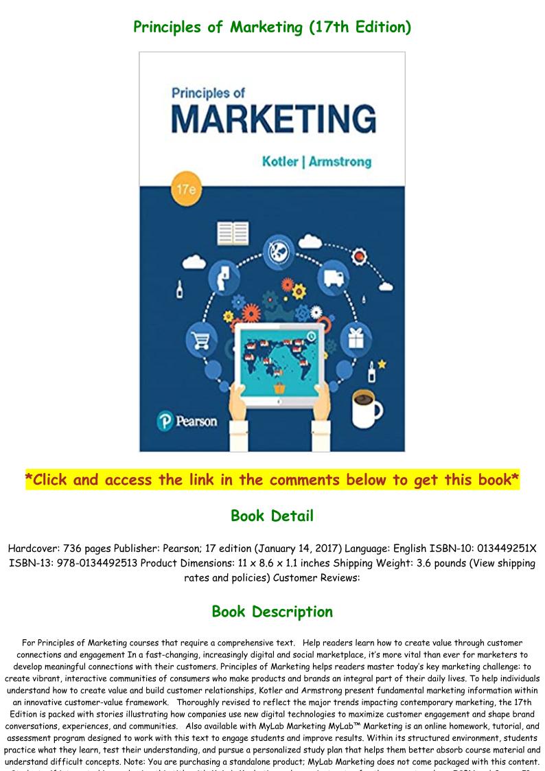 Principles Of Marketing 17th Edition Pdf
