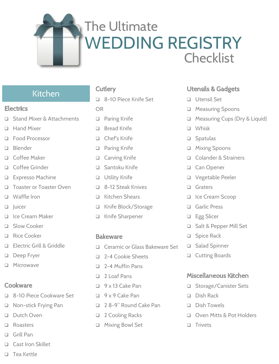 Printable Wedding Registry Checklist Pdf