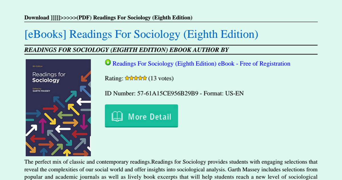 Readings For Sociology 8th Edition Pdf Download