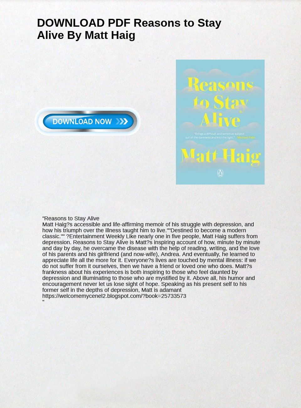 Reasons To Stay Alive Pdf