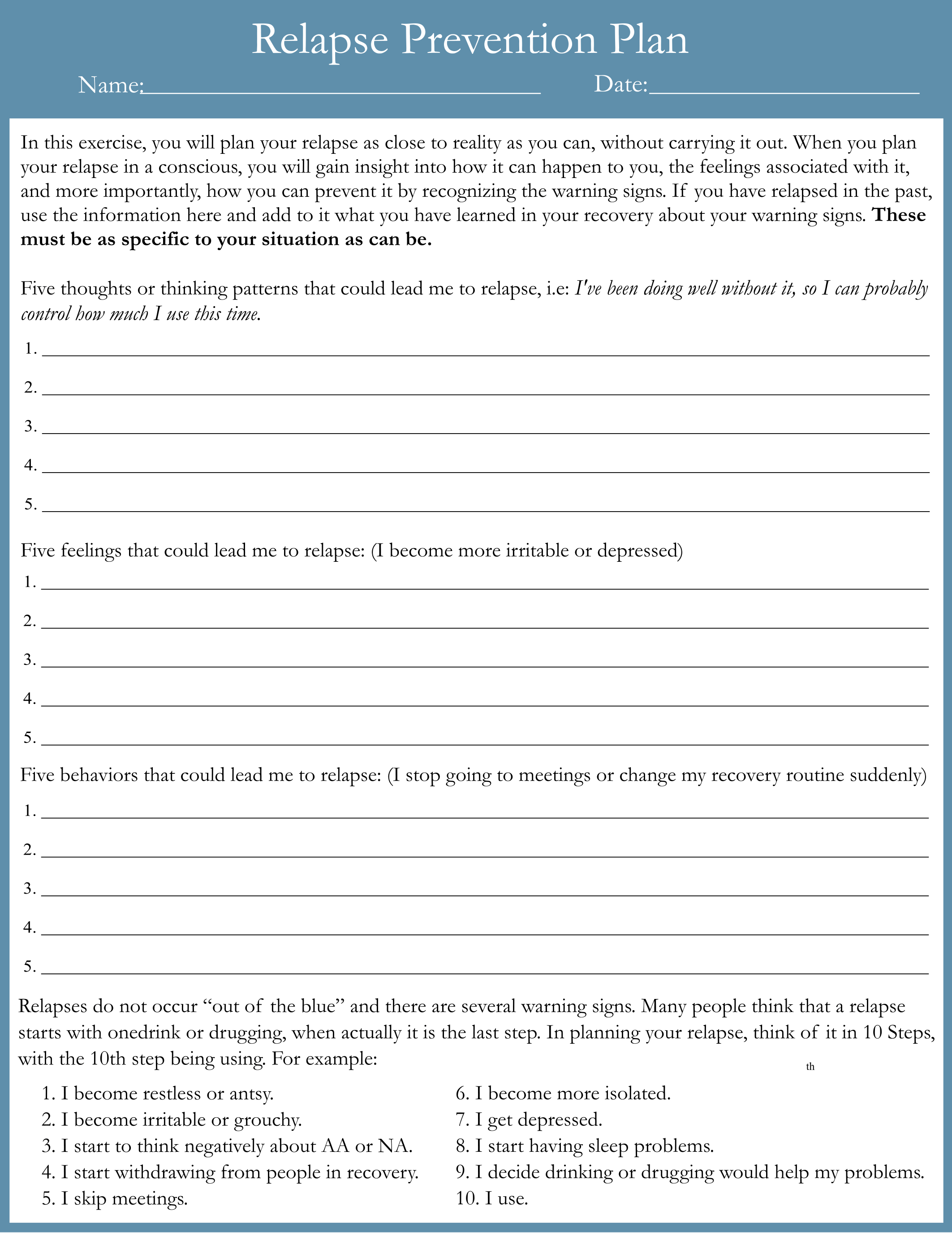Relapse Prevention Workbook Pdf