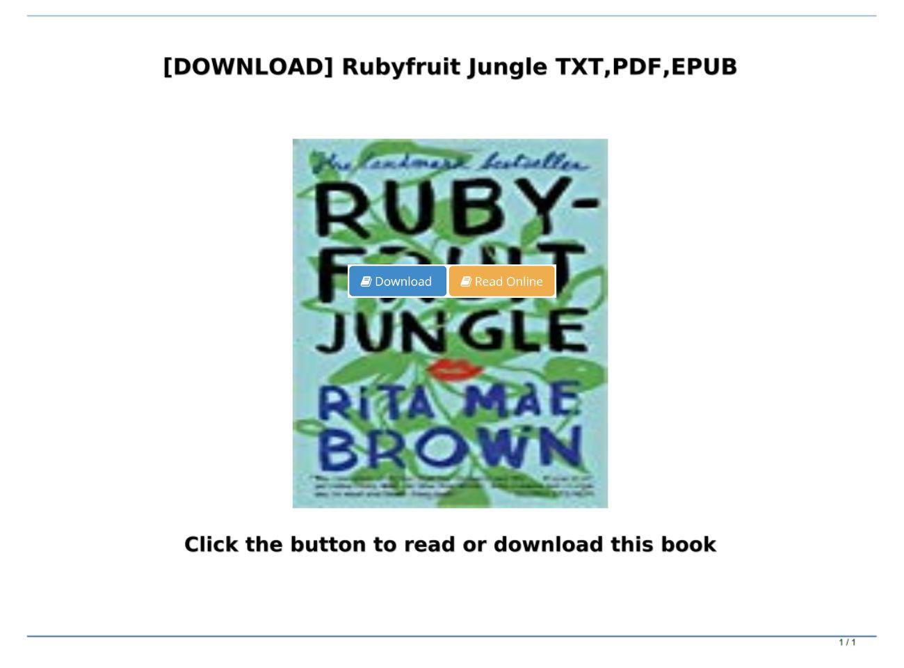 Rubyfruit Jungle Pdf