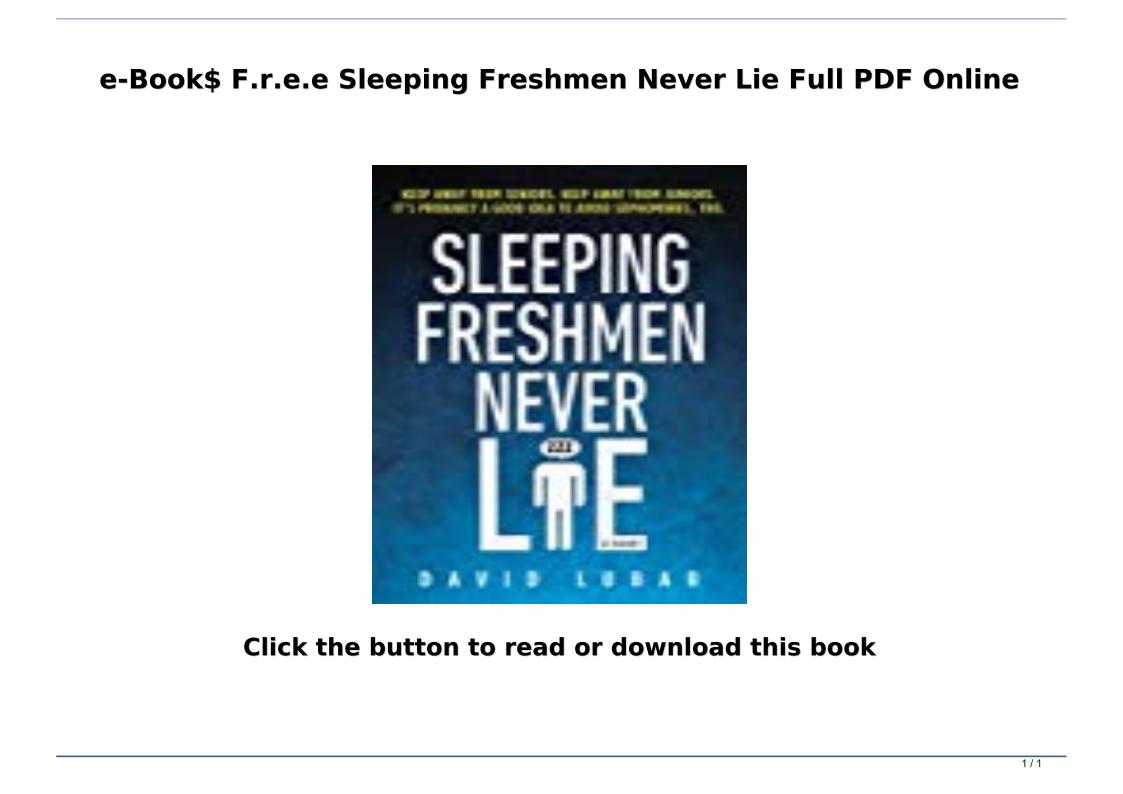 Sleeping Freshmen Never Lie Pdf Free