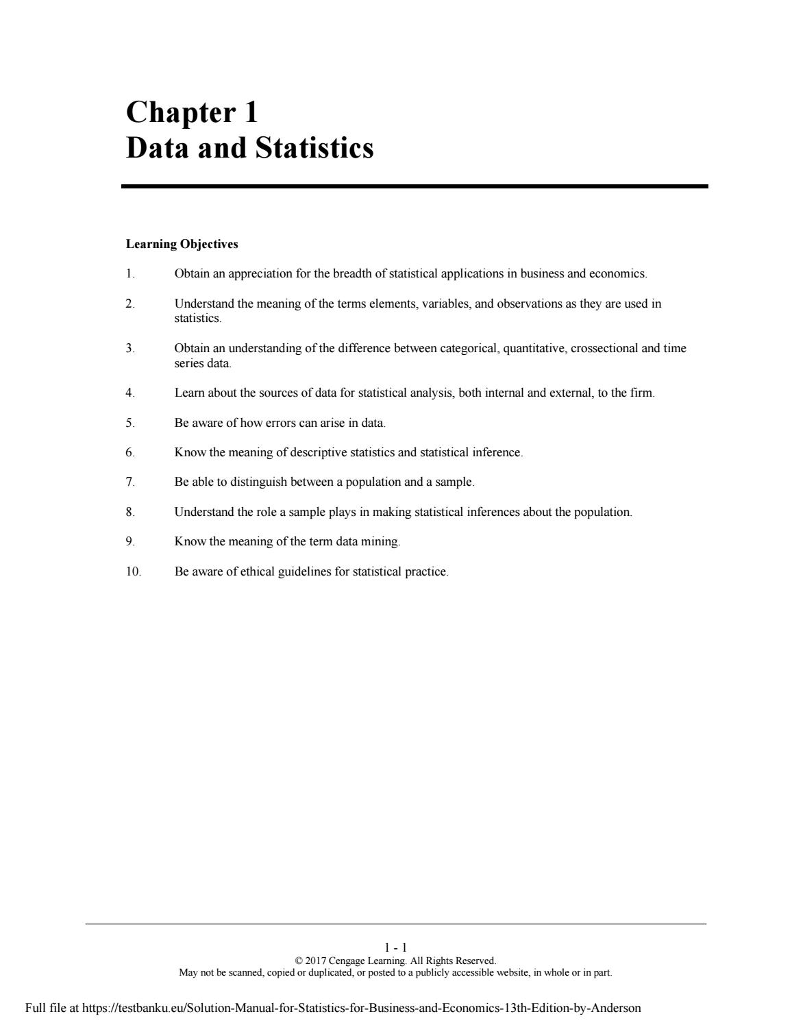 Statistics For Business And Economics 13th Edition Pdf