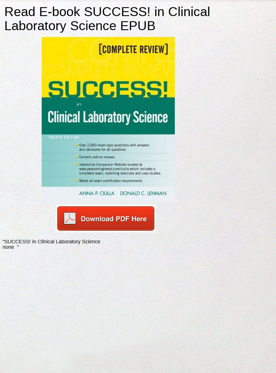 Success In Clinical Laboratory Science Pdf Download