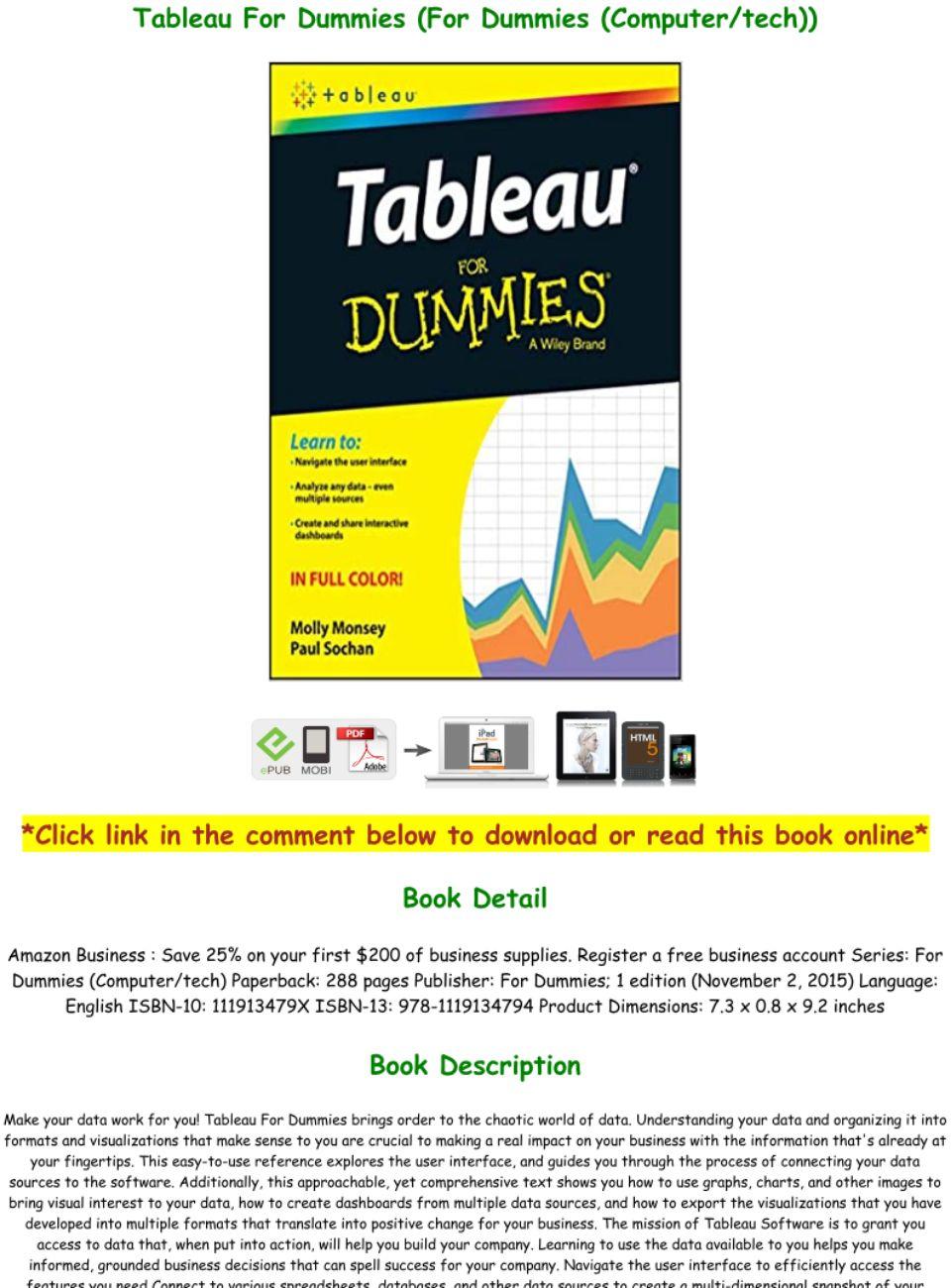 Tableau For Dummies Pdf Download