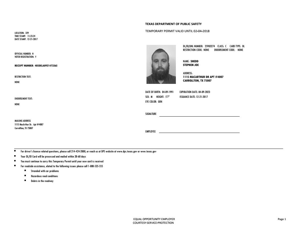 Texas Temporary Paper Id Template Pdf
