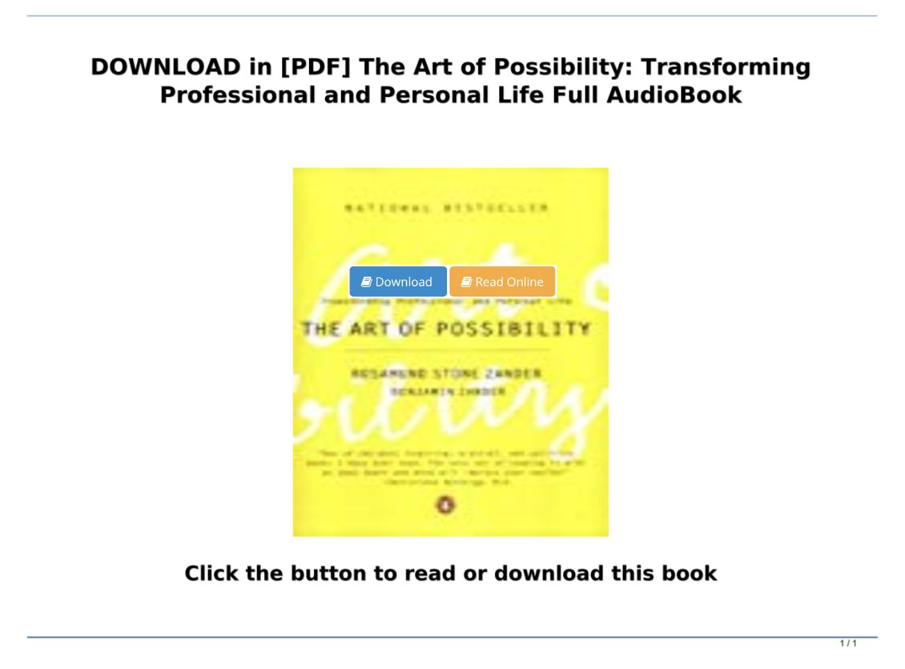 The Art Of Possibility Pdf