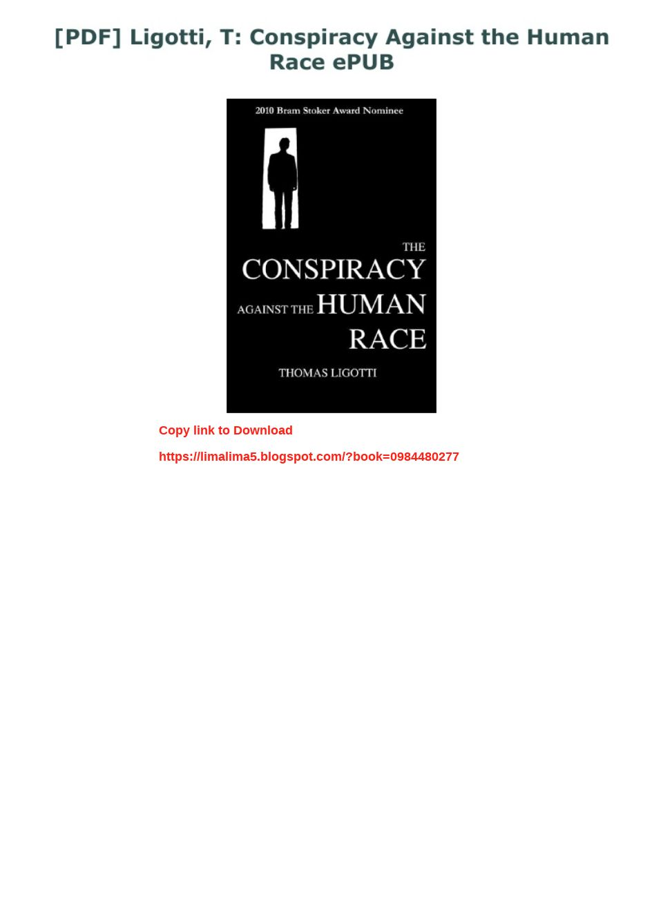 The Conspiracy Against The Human Race Pdf