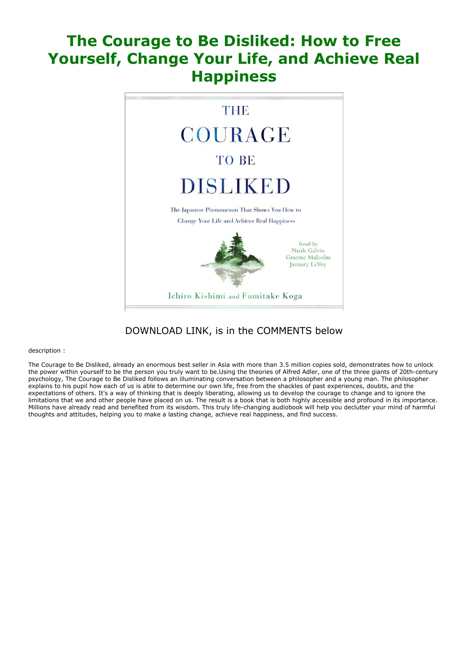 The Courage To Be Disliked Free Pdf