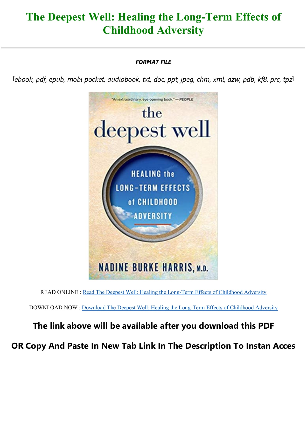 The Deepest Well Pdf