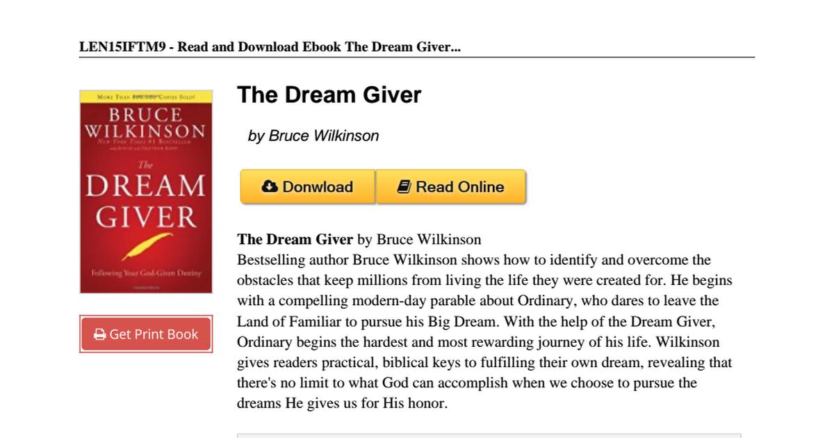 The Dream Giver Pdf