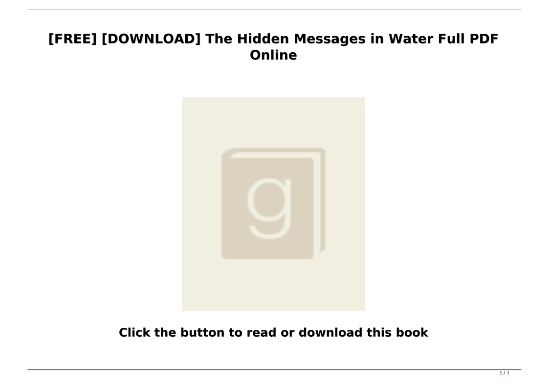 The Hidden Messages In Water Pdf Download