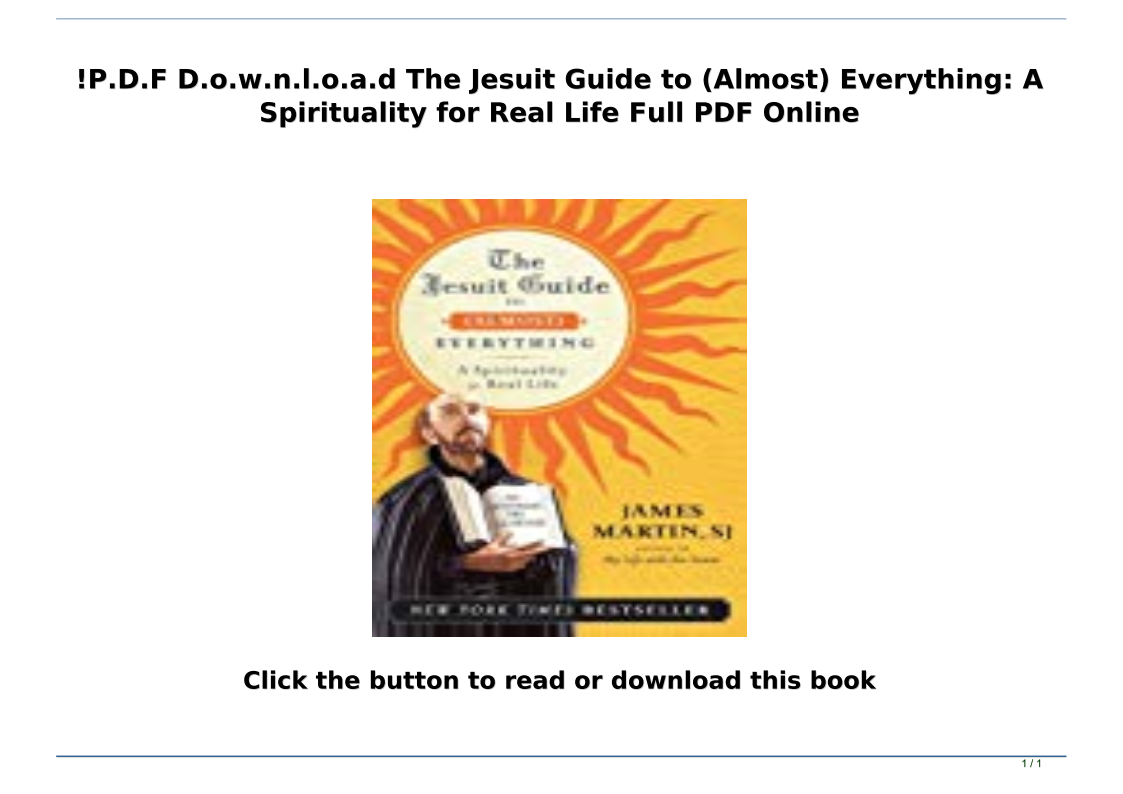 The Jesuit Guide To Almost Everything Pdf