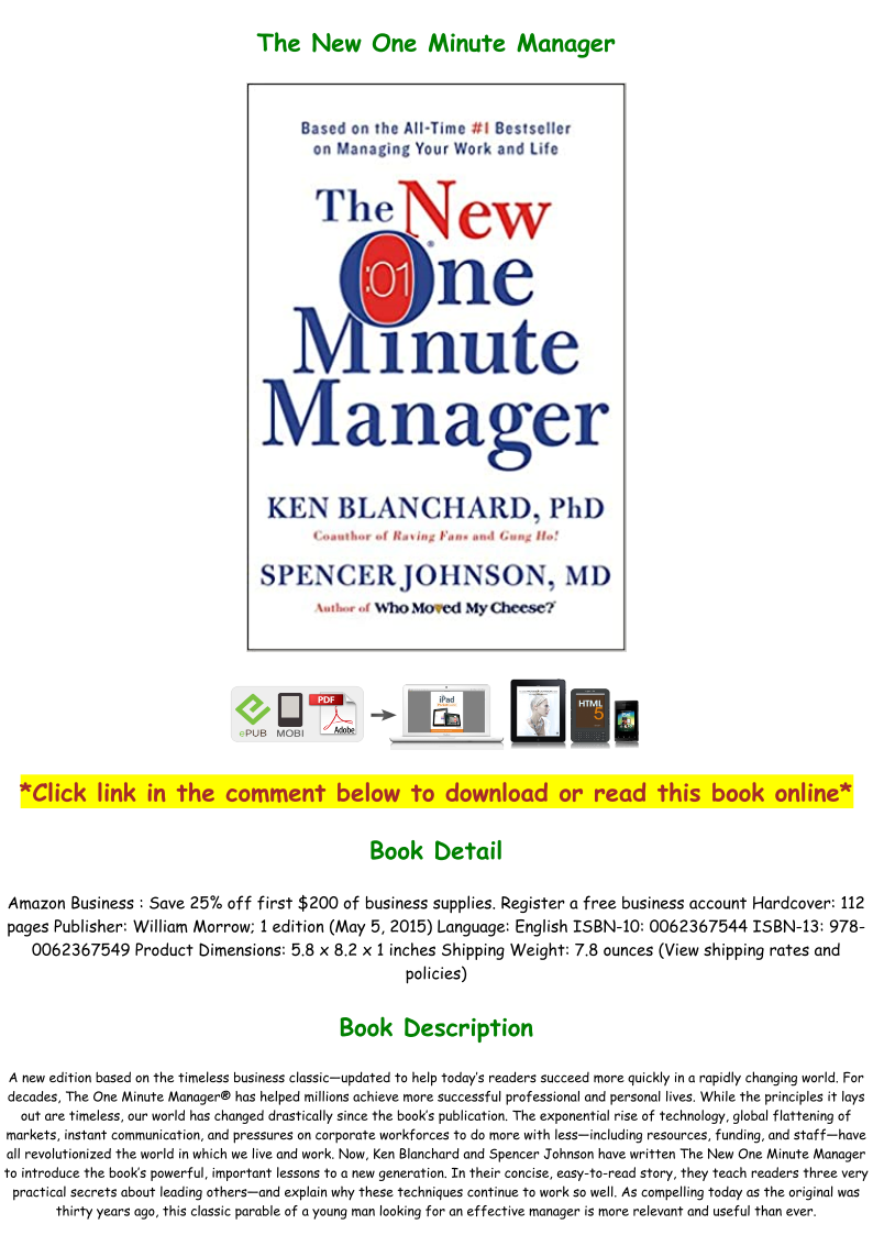 The New One Minute Manager Pdf Full Download