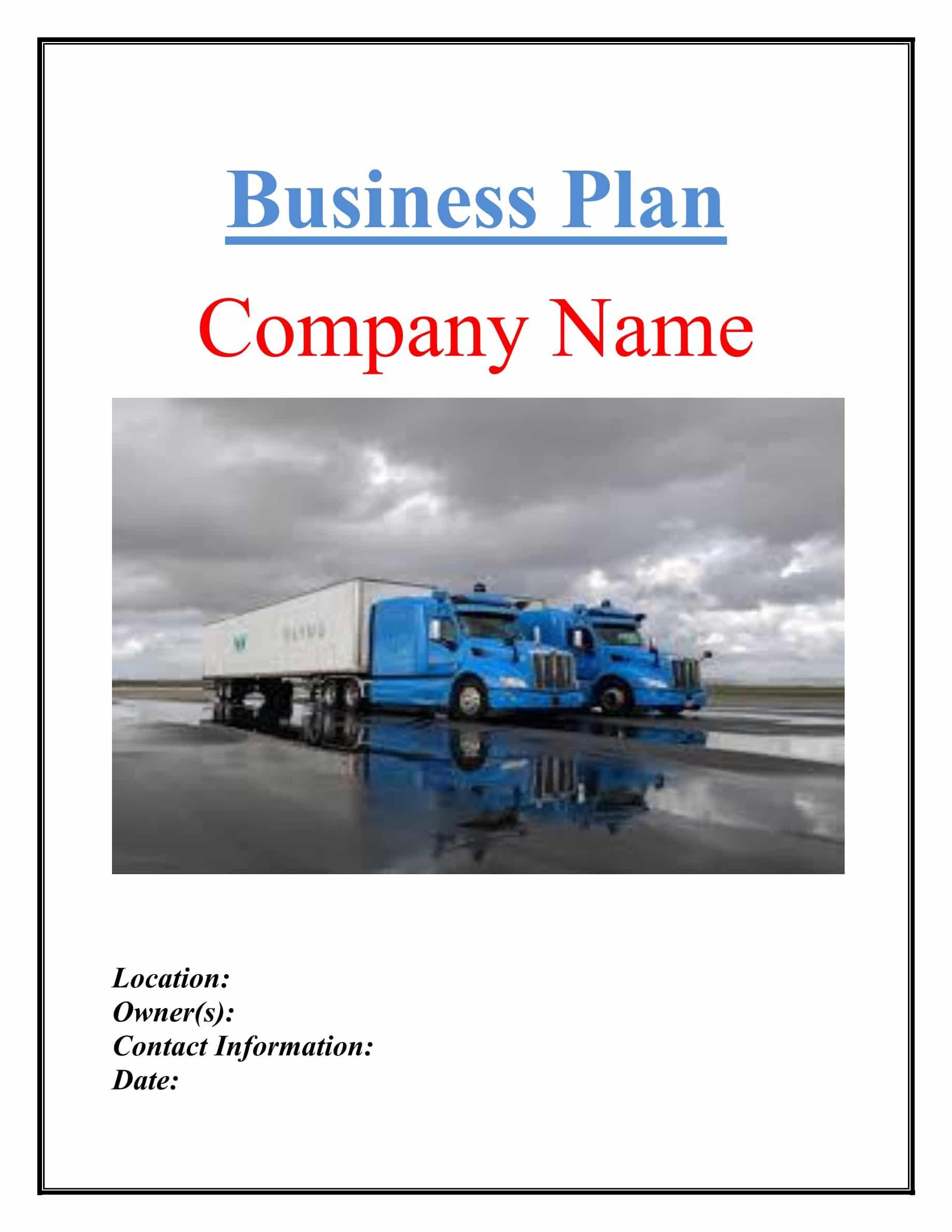 Trucking Company Business Plan Pdf