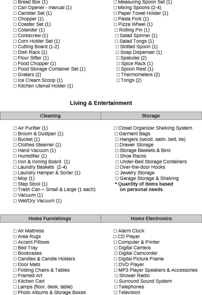 Wedding Registry Checklist Pdf