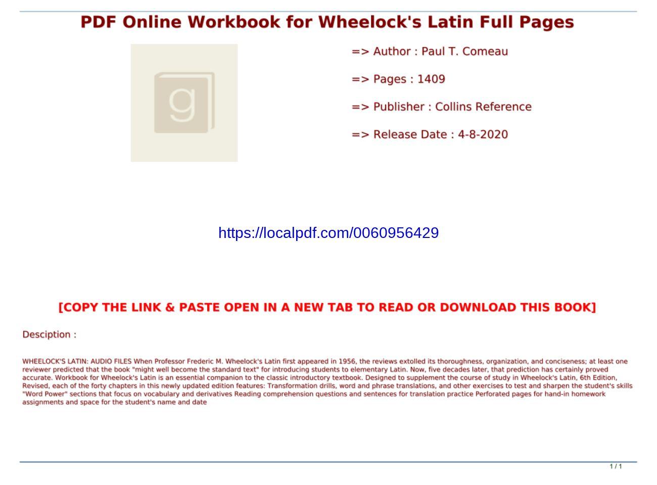 Workbook For Wheelocks Latin Pdf