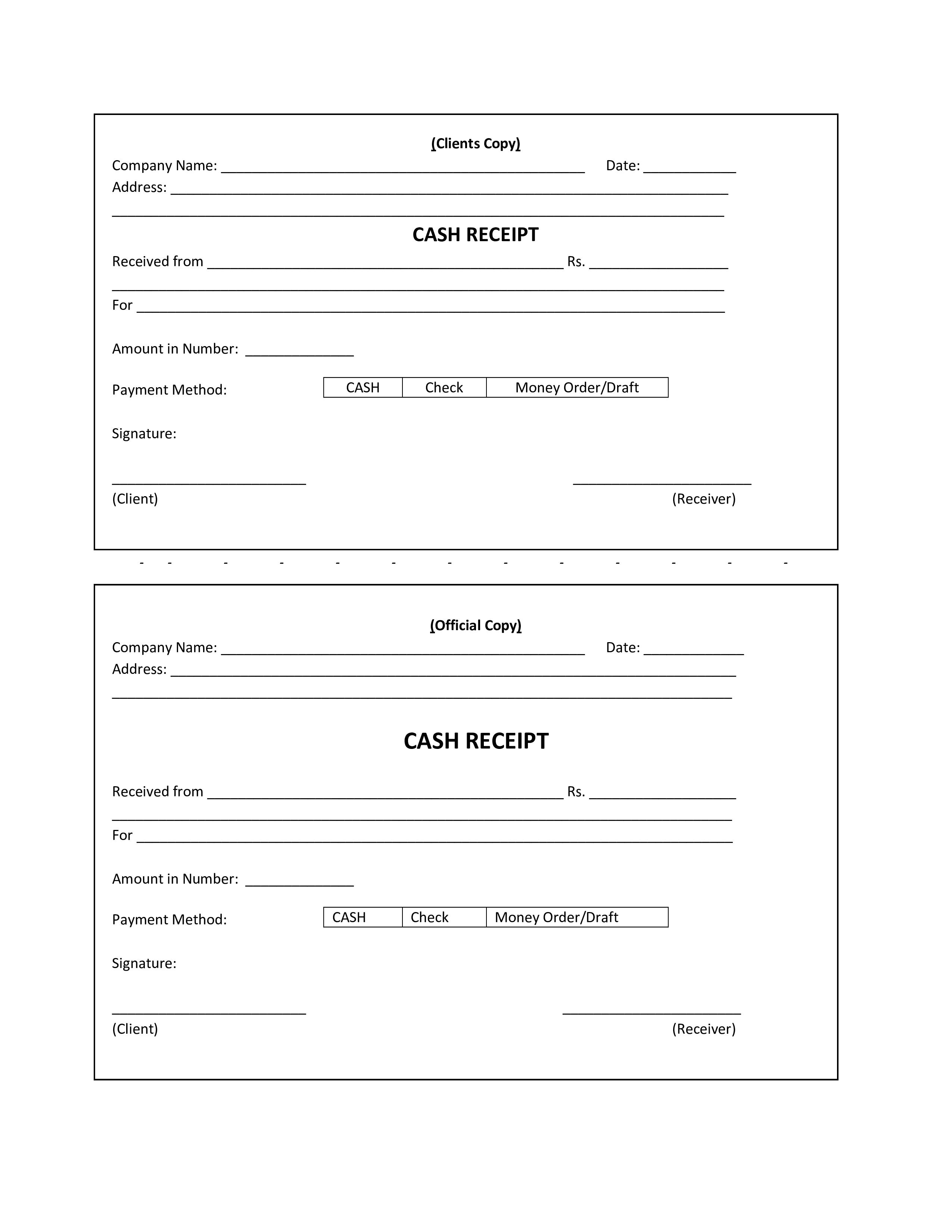 Cash Payment Receipt Format Pdf