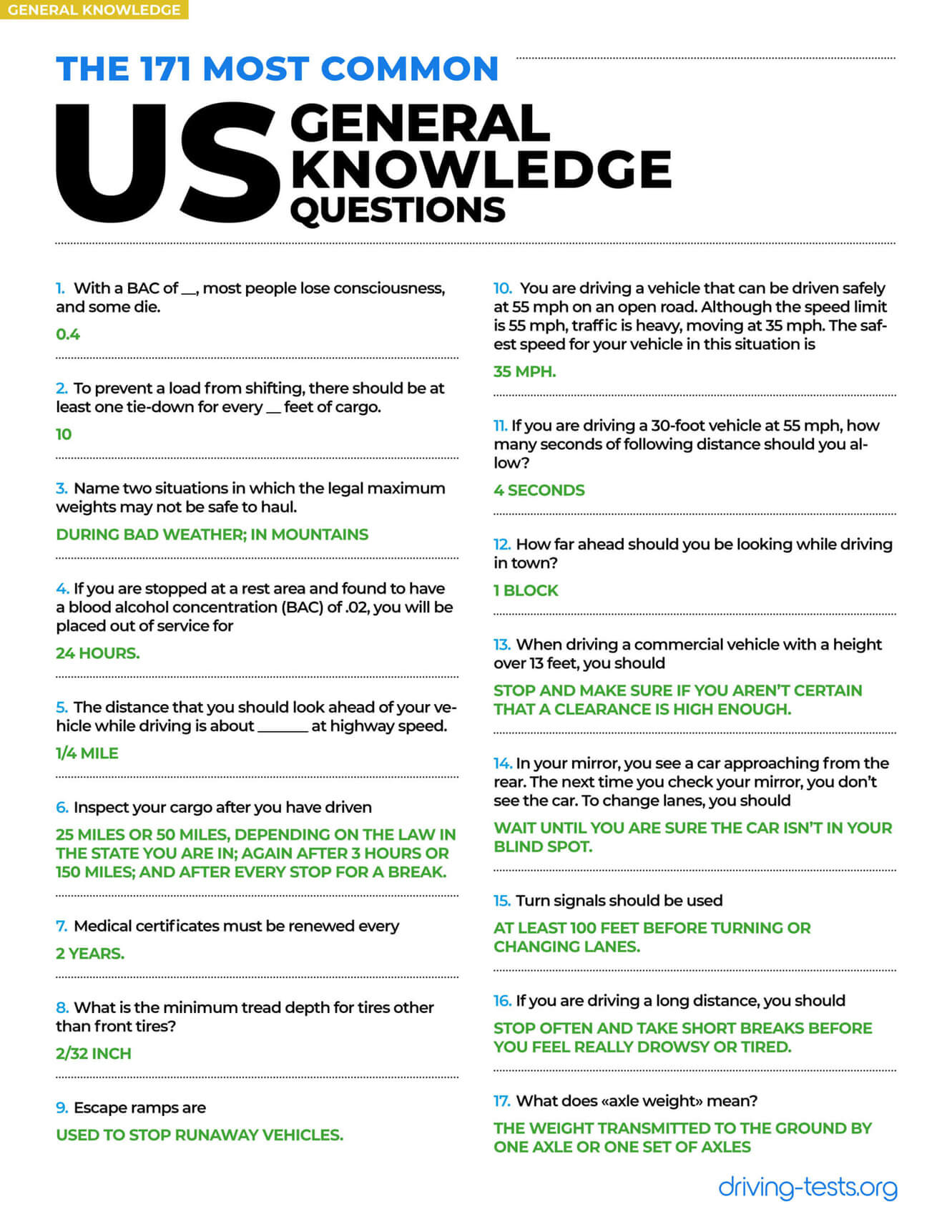 Cdl General Knowledge Quiz Answers