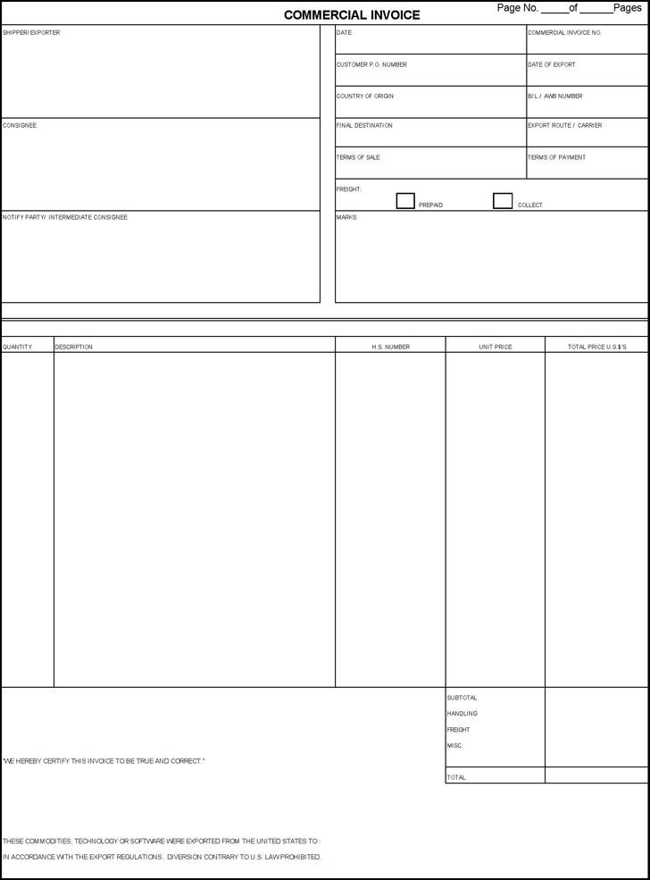 Commercial Invoice Editable Pdf