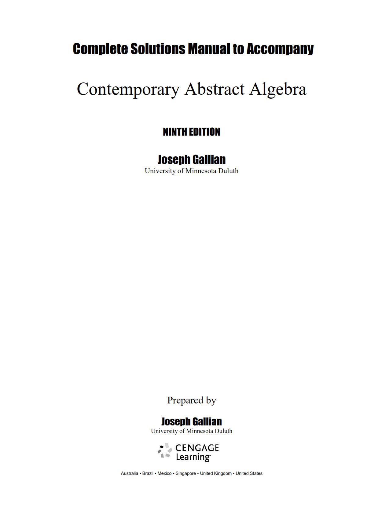 Contemporary Abstract Algebra 9th Edition Pdf