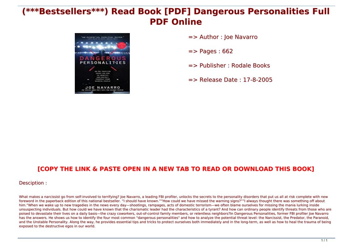 Dangerous Personalities Book Pdf