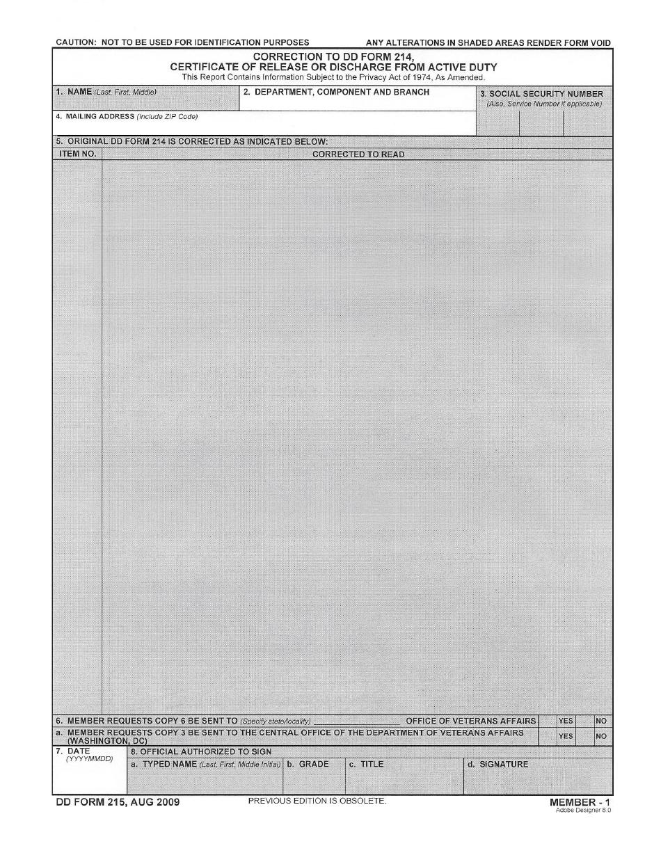 Dd Form 215 Download Pdf