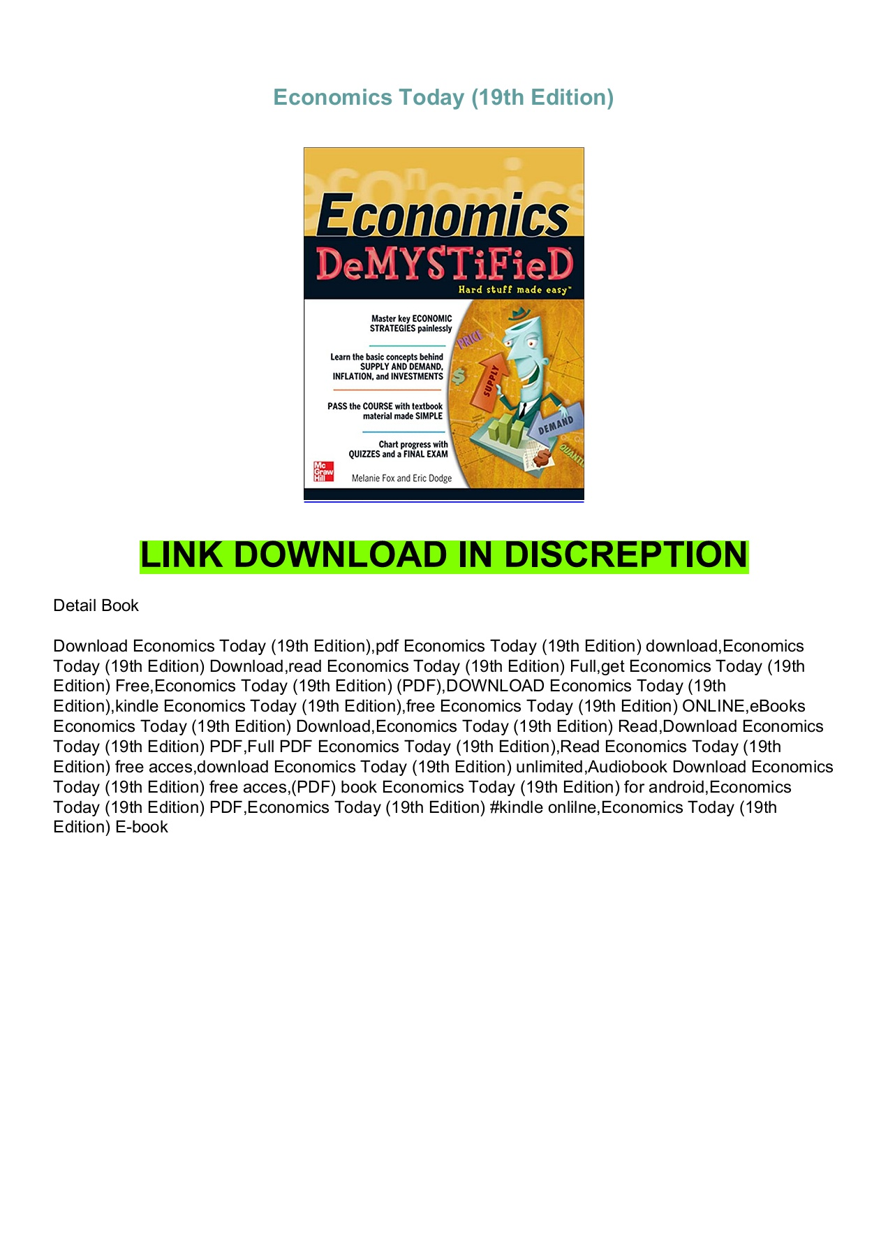 Economics Today 19th Edition Pdf