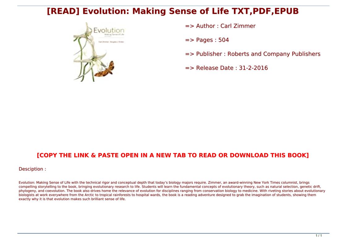 Evolution Making Sense Of Life Pdf