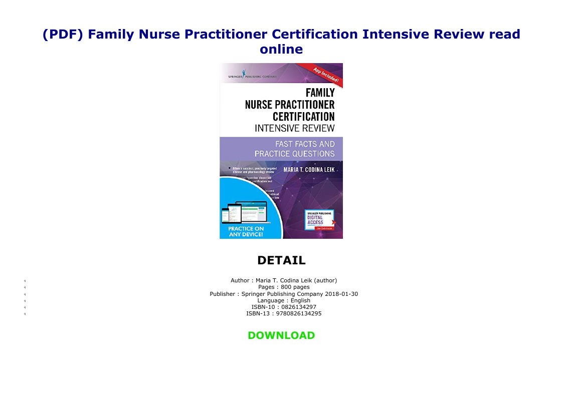 Family Nurse Practitioner Certification Intensive Review Pdf