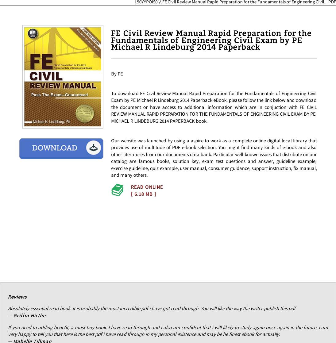 Fe Exam Civil Engineering Review Book Pdf