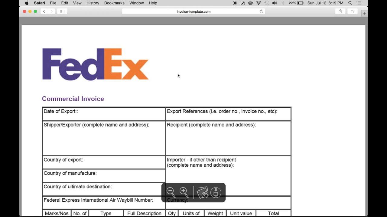 Fedex Commercial Invoice Pdf Fillable