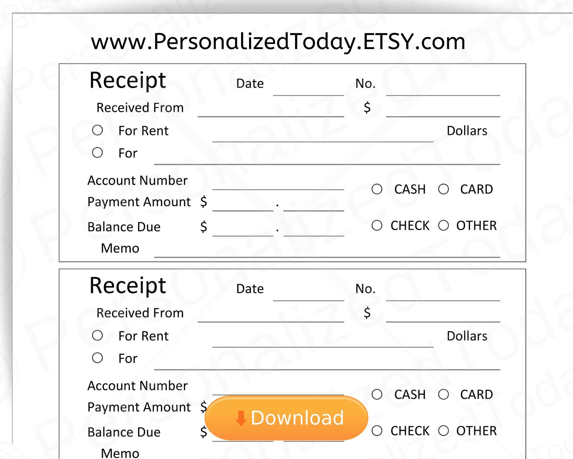Fillable Cash Receipt Template Pdf